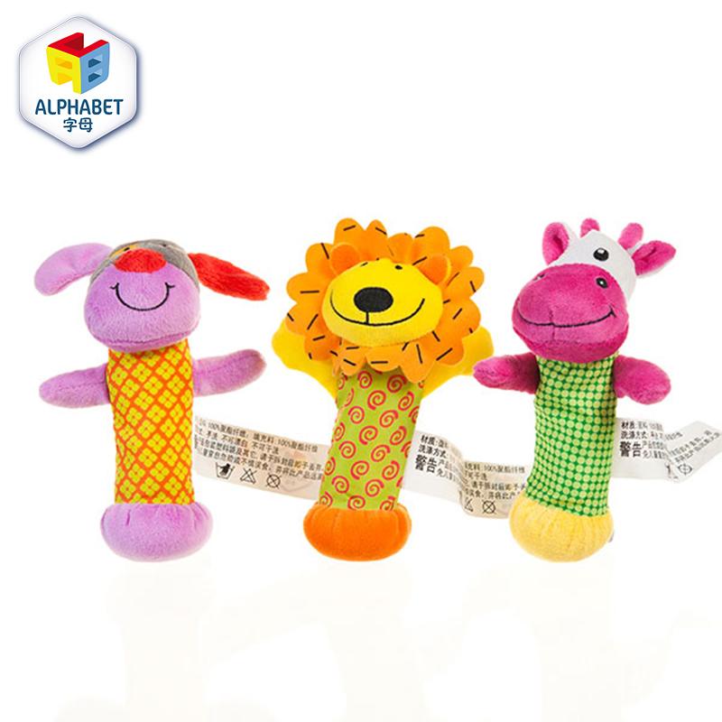 字母动物摇铃礼盒装毛绒玩具