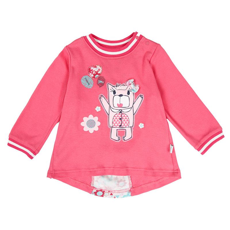 歌瑞贝儿A类女婴红色纯棉彩虹小熊T恤