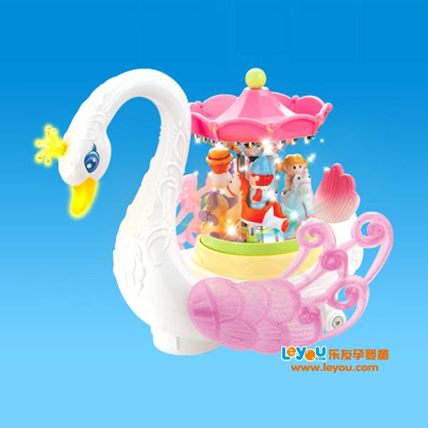 汇乐梦幻天鹅游乐园灯光电动万向车女孩玩具