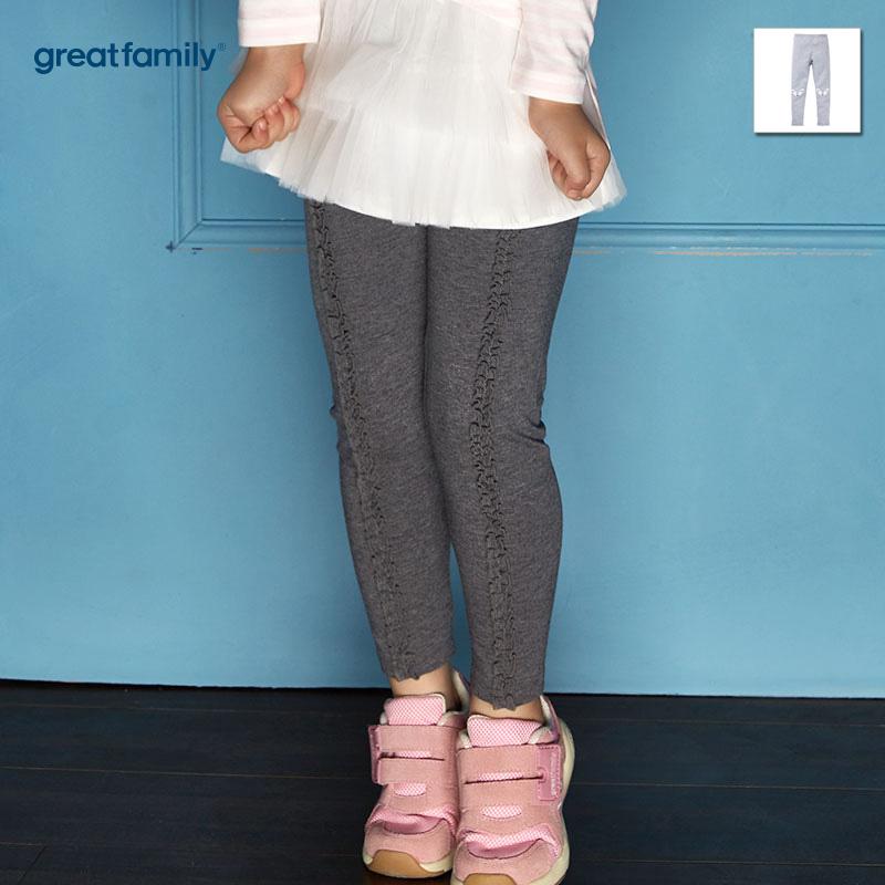 歌瑞家(Greatfamily)A类可爱精灵女童灰色花边装饰针织打底裤