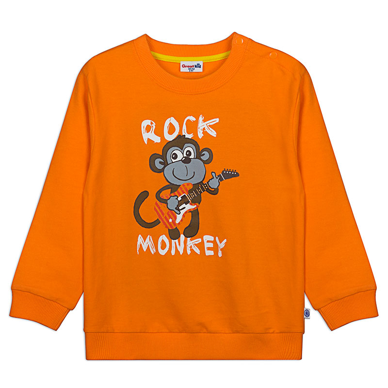 歌瑞凯儿A类男童橙色百搭圆领卫衣