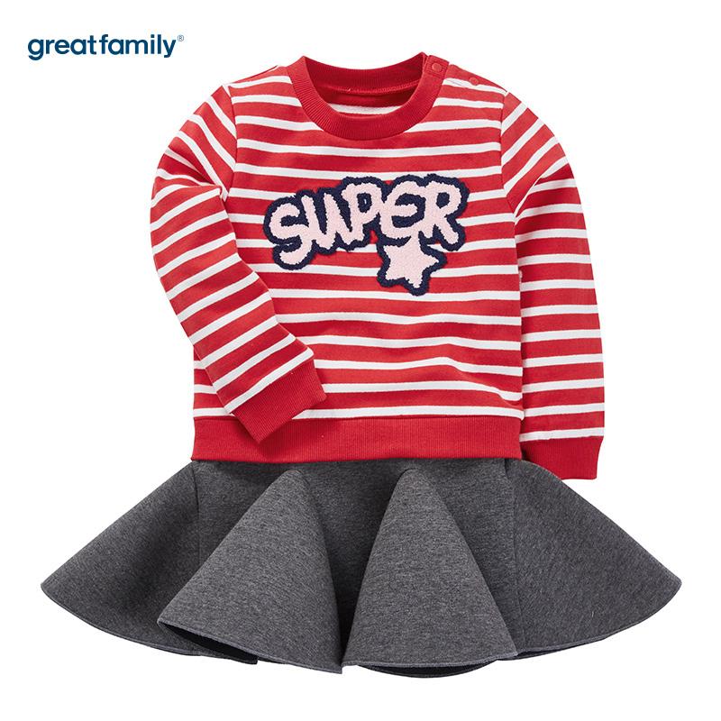 歌瑞家(Greatfamily)A类经典校园女童红白条纹拼接灰色空气层材质毛巾绣字母装饰圆领卫衣裙