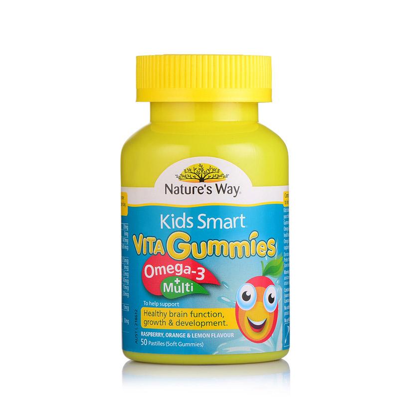 【乐海淘】澳洲佳思敏KidsSmart儿童复合维生素+Omega3鱼油软糖50粒保税区发货
