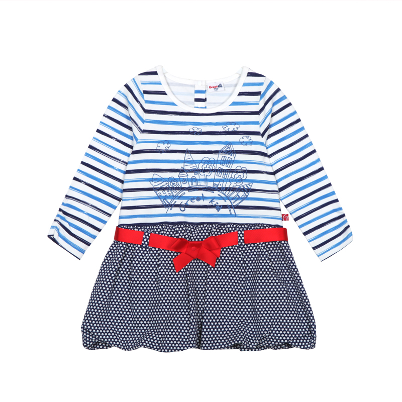 歌瑞家A类女童条纹彩条连衣裙
