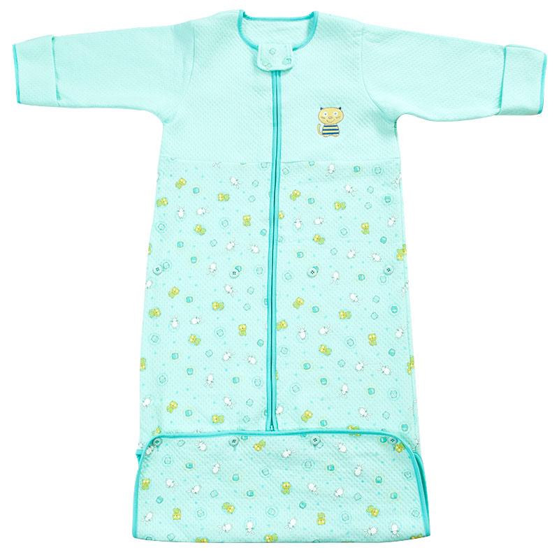 歌瑞贝儿(新)--可爱圈圈夹丝长袖睡袋GB140-997QW蓝混码