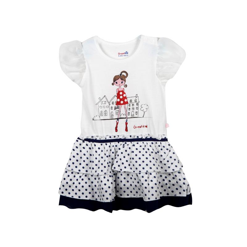 歌瑞凯儿A类女童白色针织圆领小波点连衣裙
