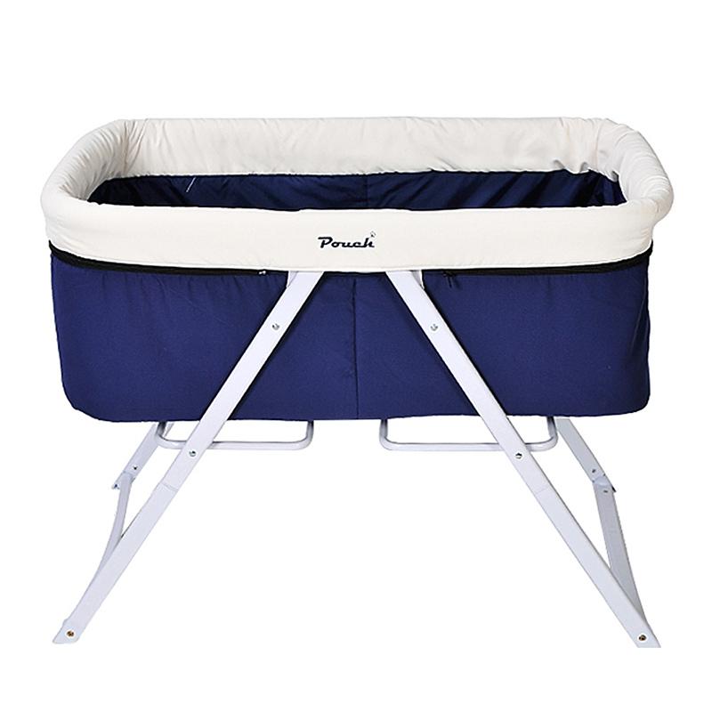 Pouch便携可折叠宝宝床BB床全布款H19蓝色