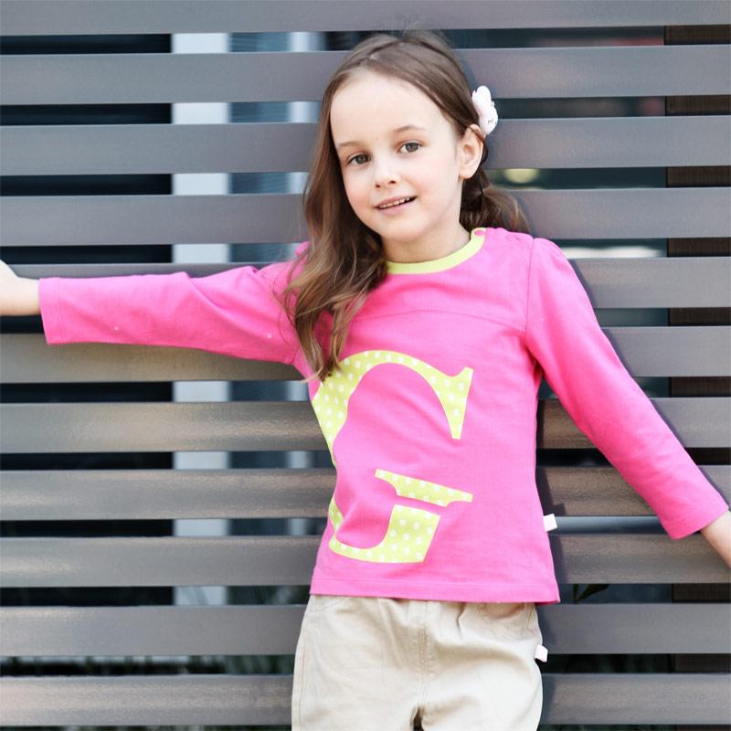 歌瑞凯儿-Great-Color-女童百搭圆领字母T恤90码