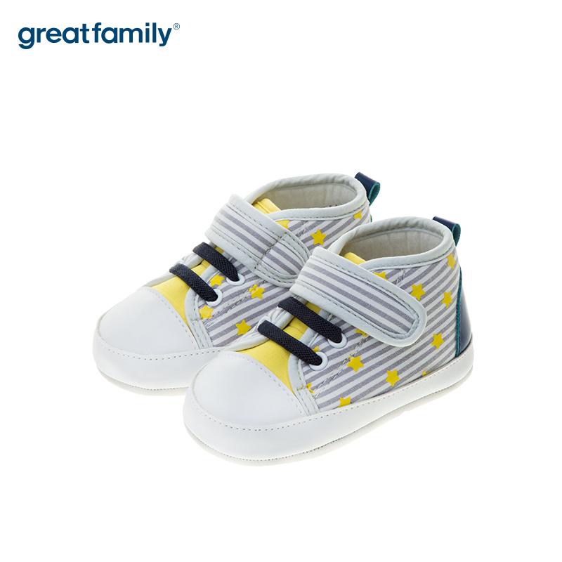 歌瑞贝儿(新)中性条纹宝宝鞋GB183-003SH灰12CM双