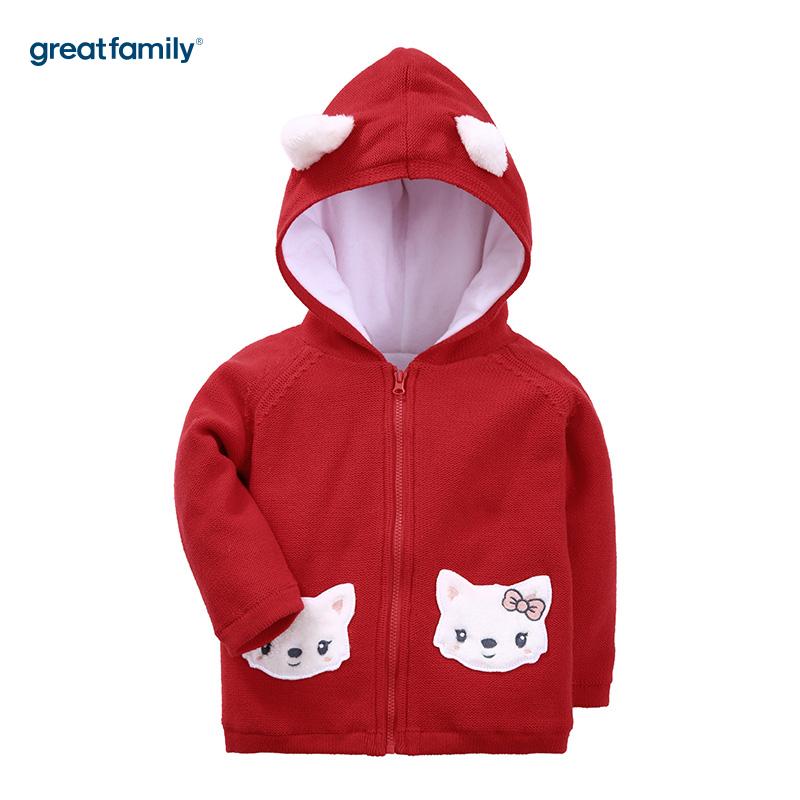 歌瑞家(Greatfamily)A类女宝宝红色连帽针织外套
