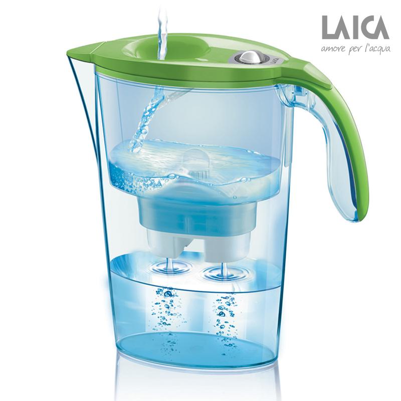 莱卡彩色手动计时免掀盖双流过滤水壶绿色