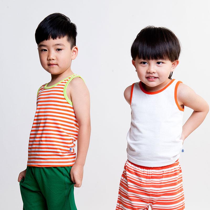 男童炫色纯棉背心两件装(夏)