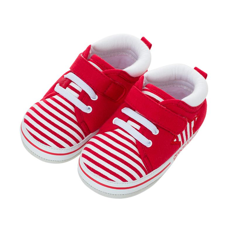 歌瑞贝儿(新)中性条纹宝宝鞋GBR4-001SH红12CM双