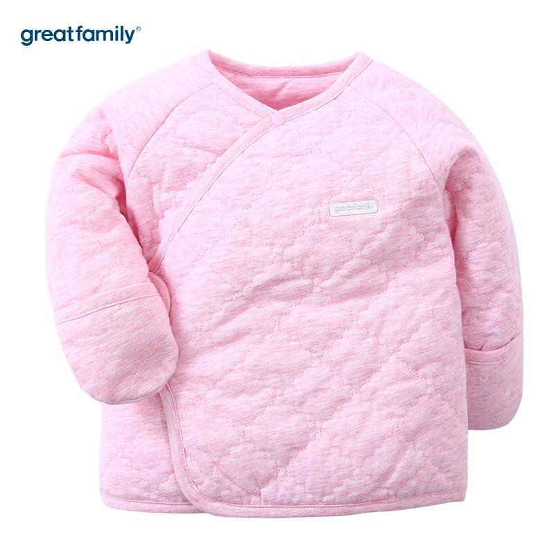 歌瑞家(Greatfamily)A类女宝宝夹棉粉色长袖和袍/和尚服/内衣