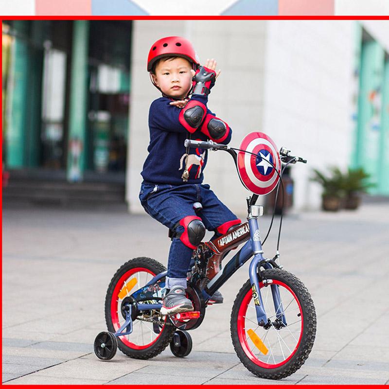 贝乐童车迪士尼系列美国队长抢手自行车16寸 红色