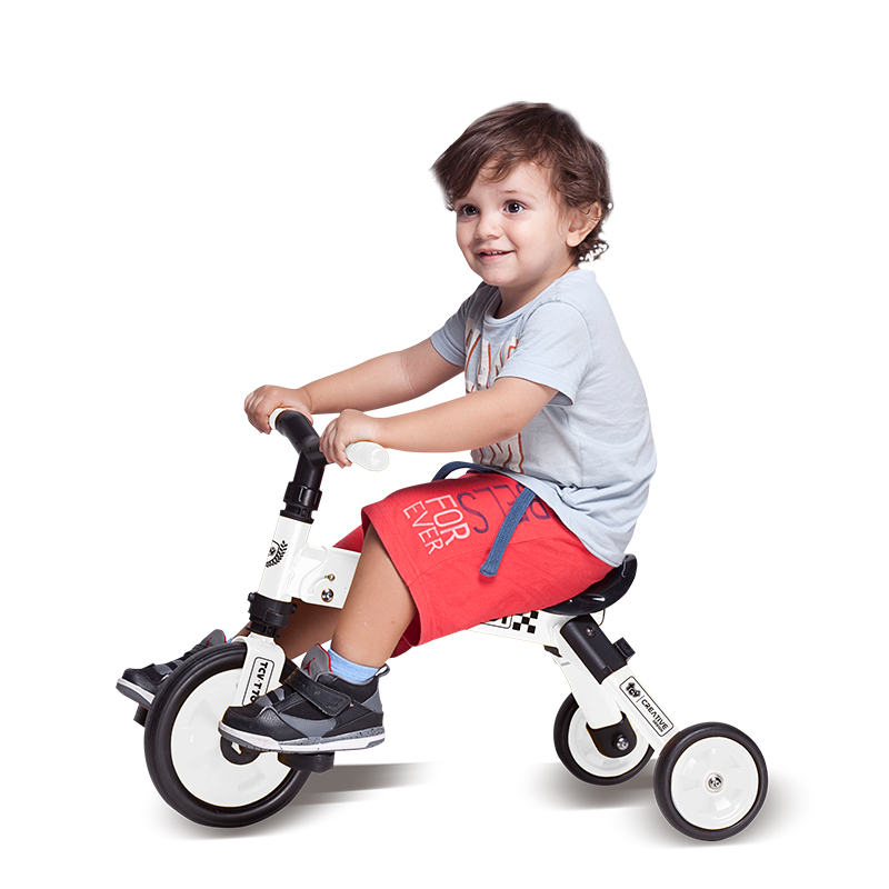 【乐海淘】台湾TCV二合一折叠式儿童滑步三轮车T701 白 海外直邮