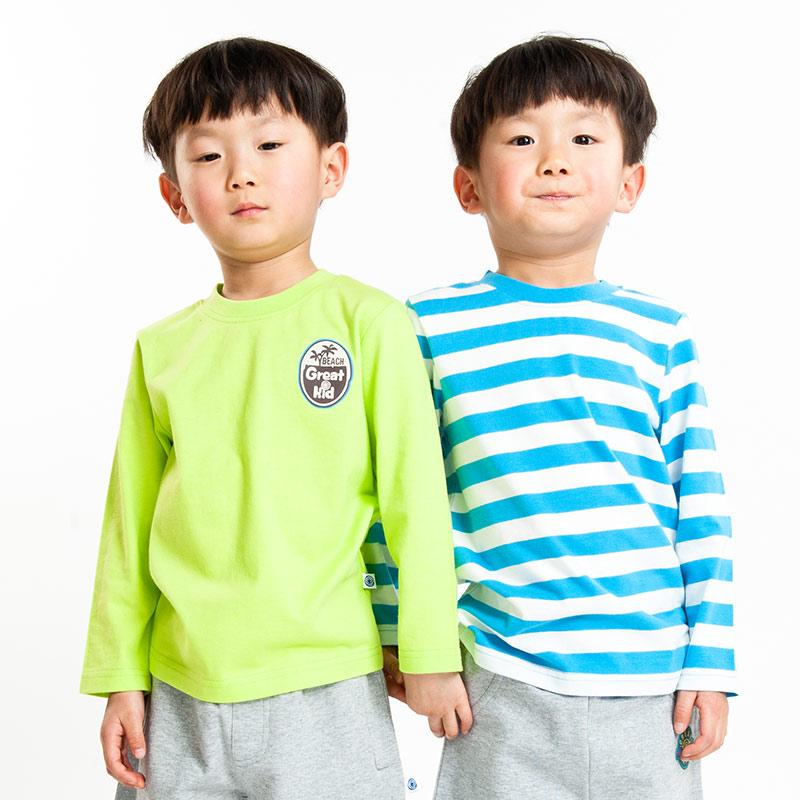 歌瑞凯儿(新)--男童纯棉T恤两件装(春)GK141-077TQ花色80