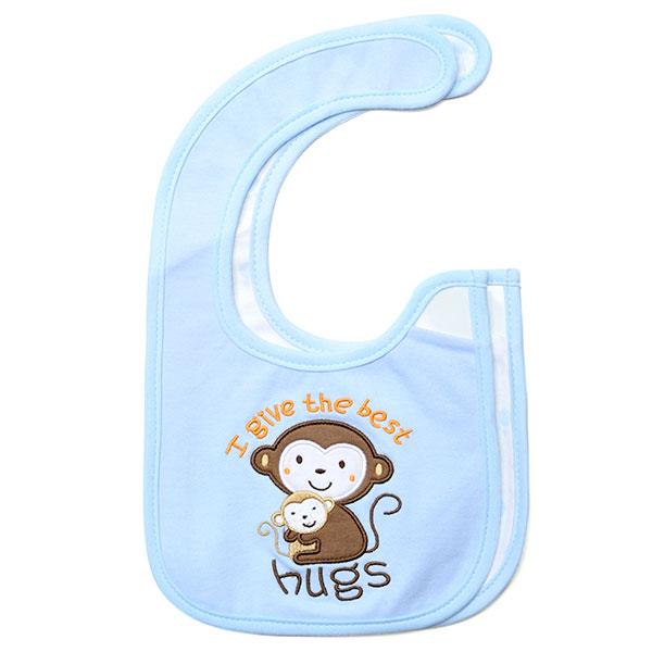 歌瑞贝儿--2件装小猴子口水巾(蓝-混码)
