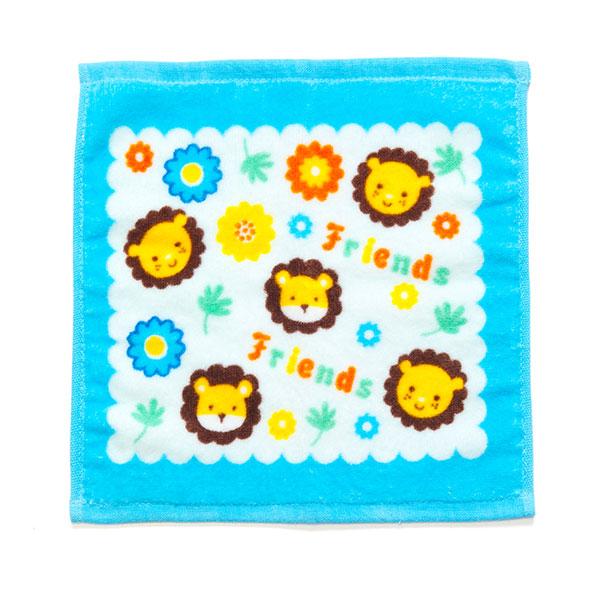 歌瑞贝儿(新)--小狮子割绒印花方巾GB130-241蓝混码