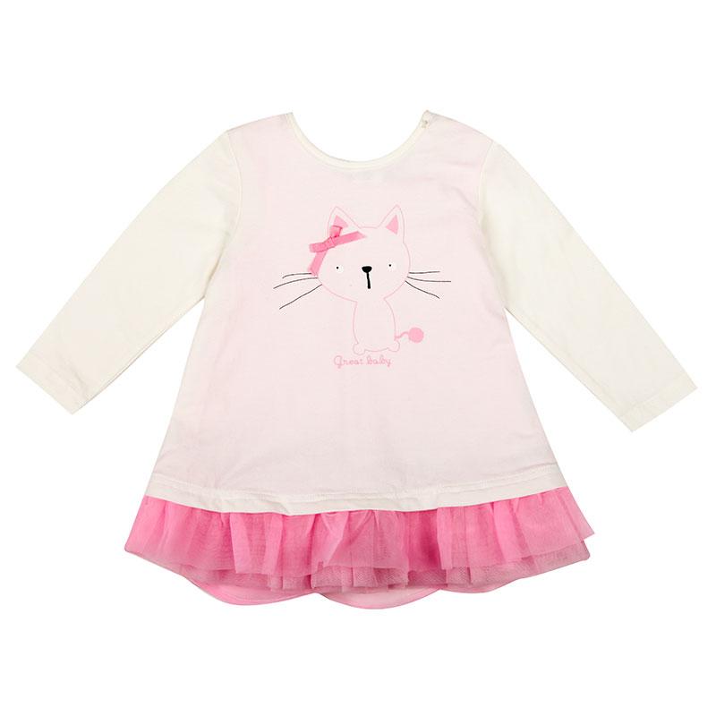 歌瑞家A类女婴白色纯棉都市丛林小猫加纱T恤