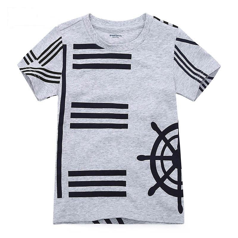 歌瑞家夏季A类纯棉男童灰色圆领针织T恤
