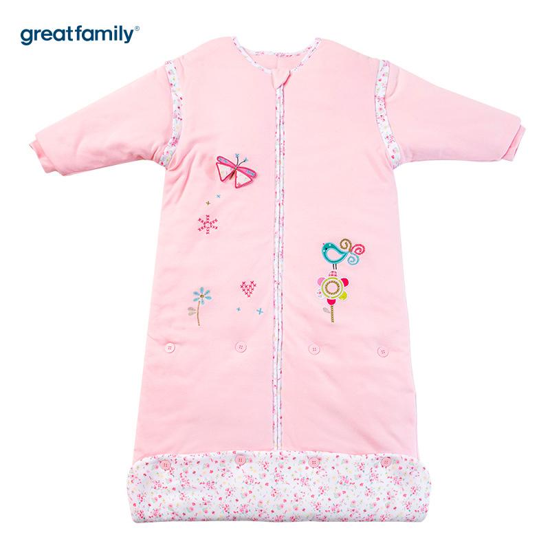 歌瑞家(Greatfamily)A类针织加棉可调节睡袋蝴蝶花园款粉色45*(80-90cm)