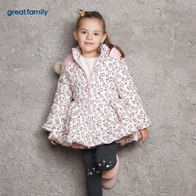 歌瑞家(Greatfamily)A类女童花色豹纹花型花伞造型连帽中长款羽绒服