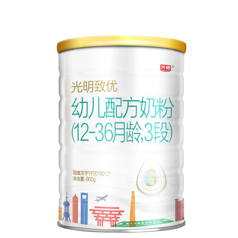 光明致优幼儿配方奶粉3段(12-36个月)900g桶