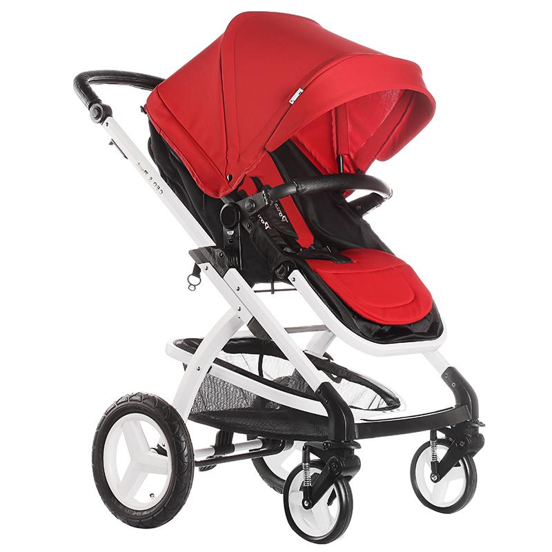 Pouch婴儿车推车轻便高景观可躺可坐避震手推车可折叠宝宝童车  E89 红黑