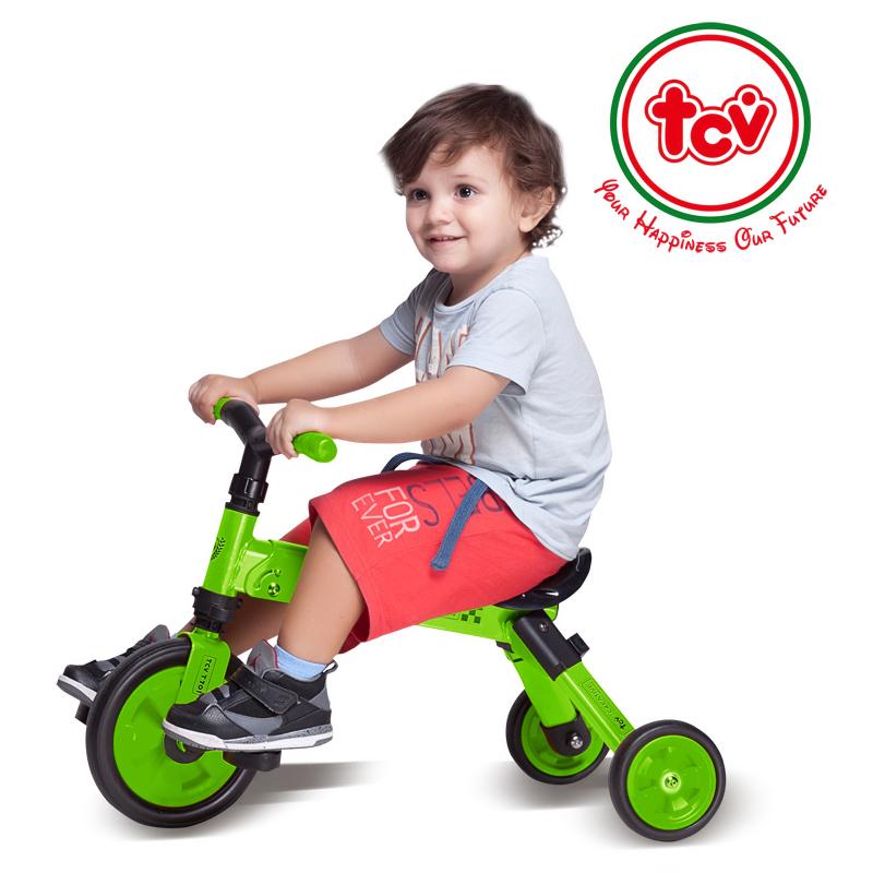 【乐海淘】台湾TCV二合一折叠式儿童滑步三轮车T701 浅绿 海外直邮