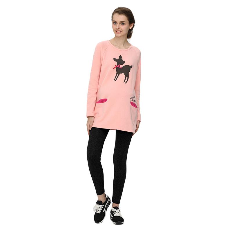 歌瑞妈妈小鹿长款卫衣粉XL