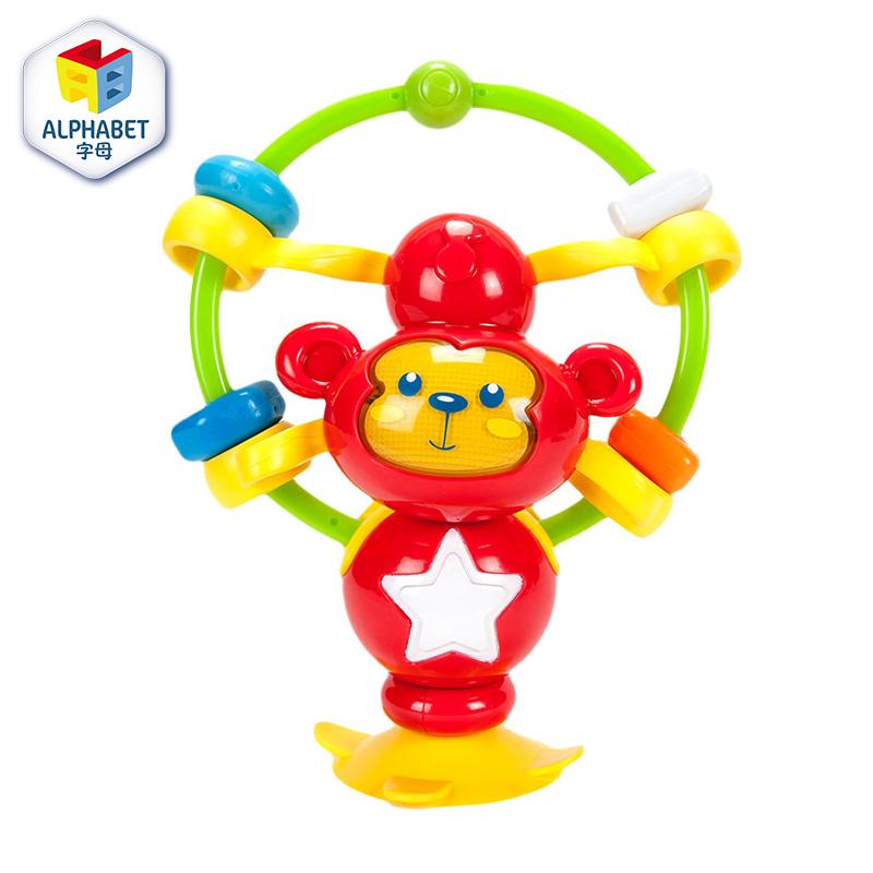 字母婴幼儿玩具猴子摇铃