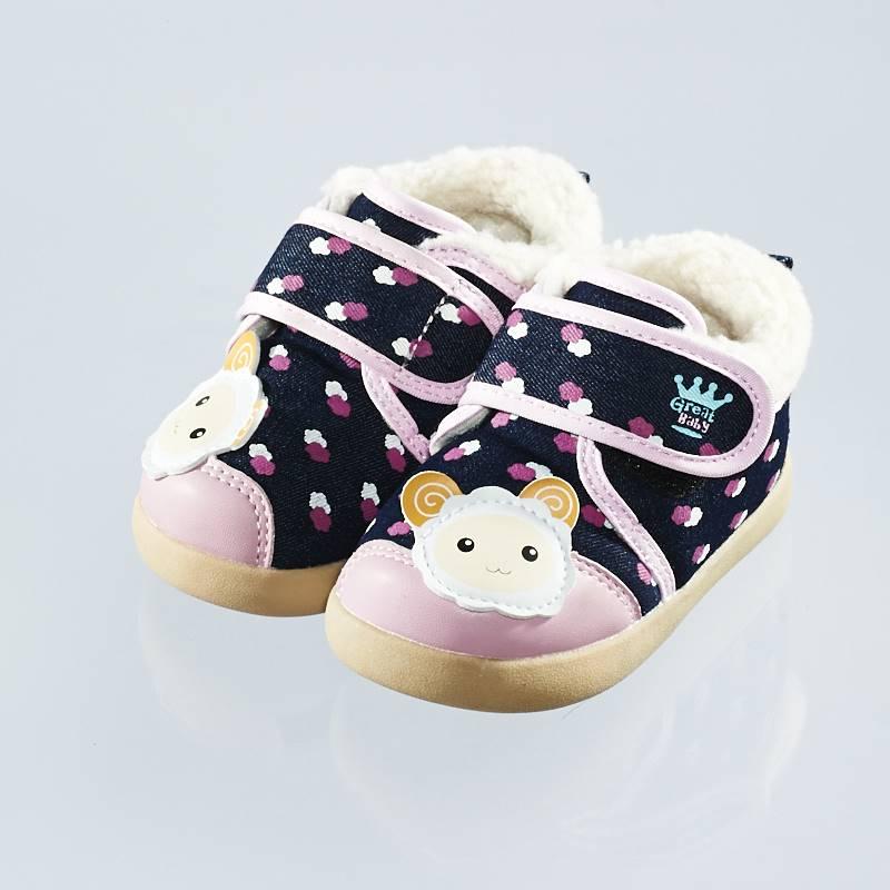 歌瑞贝儿(新)--可爱羊保暖婴儿鞋GB144-040SH粉13.5CM