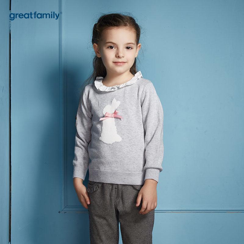 歌瑞家(Greatfamily)比得兔(Peterrabbit)A类灰色提花翻领针织衫