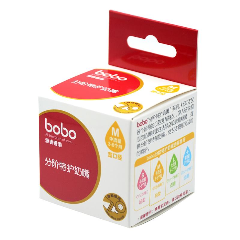 BOBO乐儿宝分阶特护奶嘴(快乐助吸型中流量3-6个月)