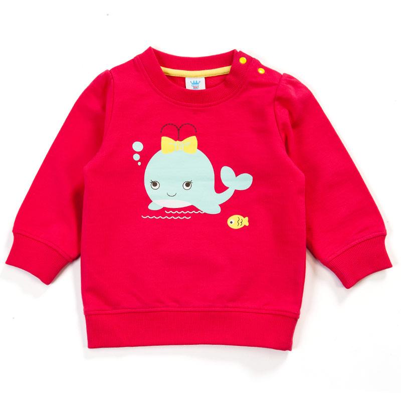 歌瑞贝儿Great Baby(T)--女童粉色针织纯棉百搭小鲸鱼卫衣