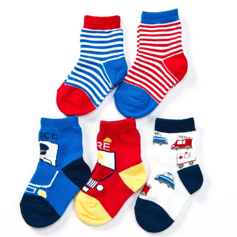 歌瑞贝儿(新)--卡通汽车袜/5双装GB141-017L混色12-24个月月包
