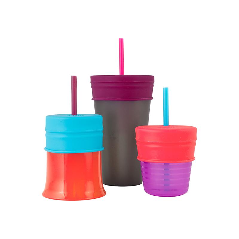 Boon啵儿 幼儿学饮杯+鸭嘴套嘴杯盖(含一个杯子三个套嘴) 女孩24