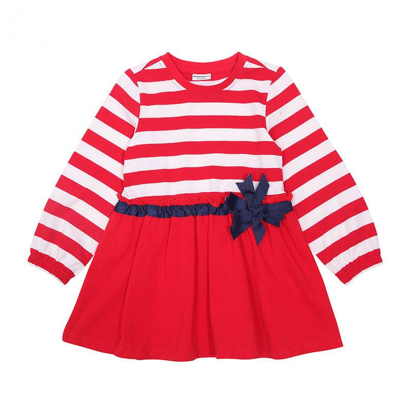 歌瑞凯儿A类女童红色条纹连衣裙