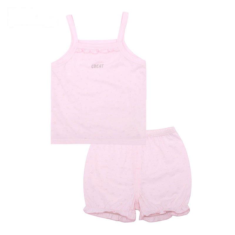 歌瑞家A类女宝宝粉色背心套装