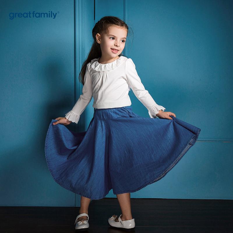 歌瑞家(Greatfamily)A类可爱精灵女童牛仔色阔腿裙裤