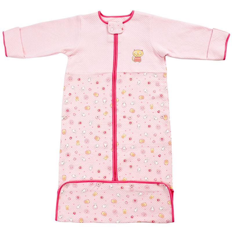 歌瑞贝儿(新)--可爱圈圈夹丝长袖睡袋GB140-1036QW粉混码