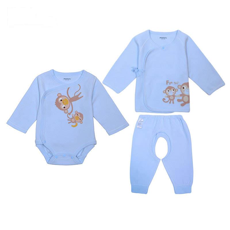 歌瑞家A类男女宝宝生肖系列新生儿三件包3色可选