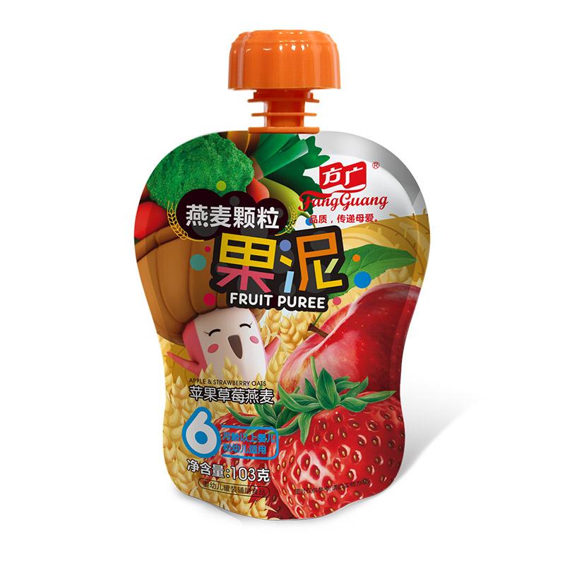 方广--苹果草莓燕麦颗粒果泥103g