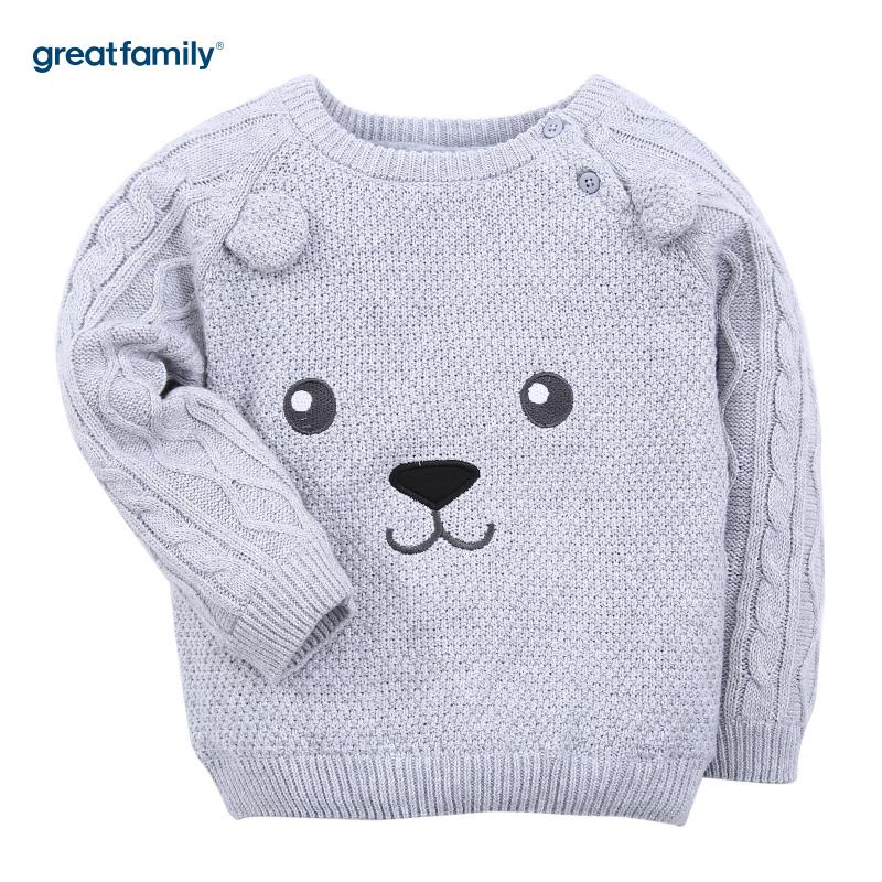 歌瑞家(Greatfamily)A类男宝宝灰色小熊套头针织衫