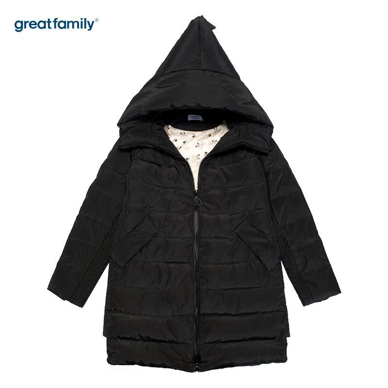 歌瑞家(greatfamily)黑色连帽羽绒服