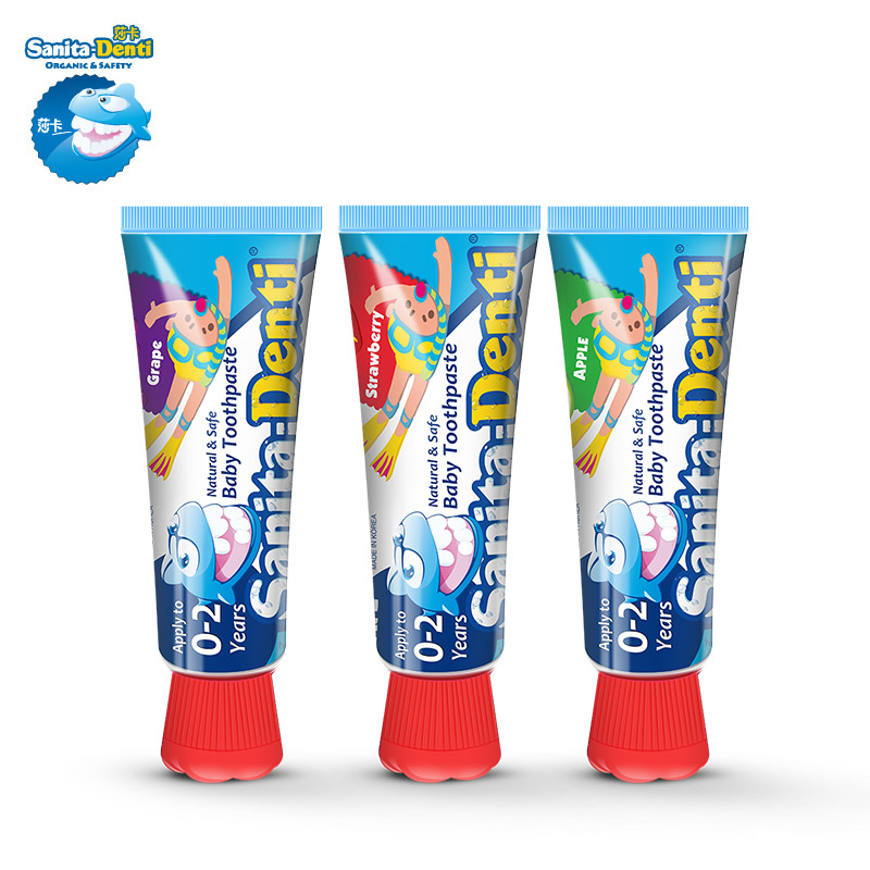 Denti莎卡韩国进口婴幼儿牙膏2段草莓味50g清洁婴儿口腔
