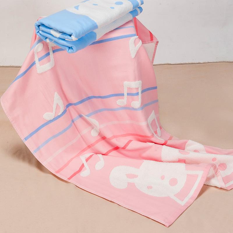 歌瑞家greatfamily纱布+毛圈浴巾粉粉色