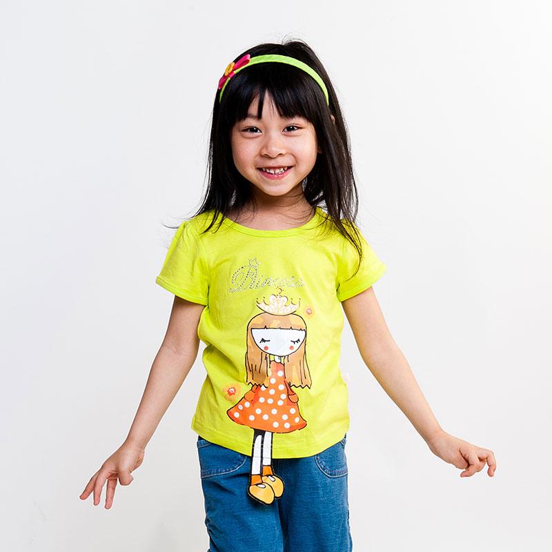 歌瑞凯儿A类女童炫色立体图案短袖T恤