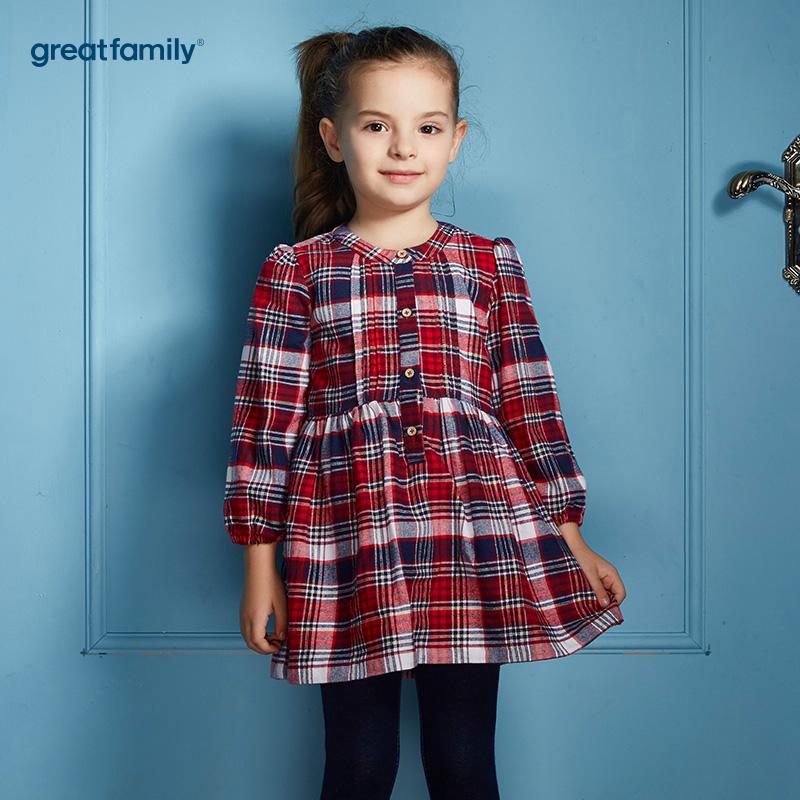 歌瑞家(Greatfamily)A类经典校园女童红黑色英伦格子立领梭织衬衫裙